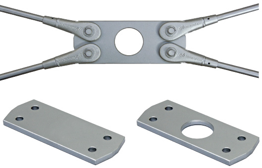 Cross plates of tension rod system BESISTA with rod anchor for wind bracings