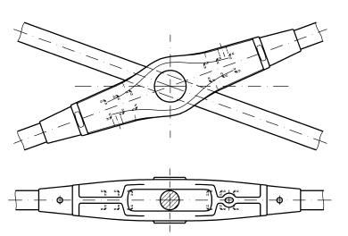 Anclaje de cruce con tirantes sistema BESISTA para contravientos o uniones en cruz
