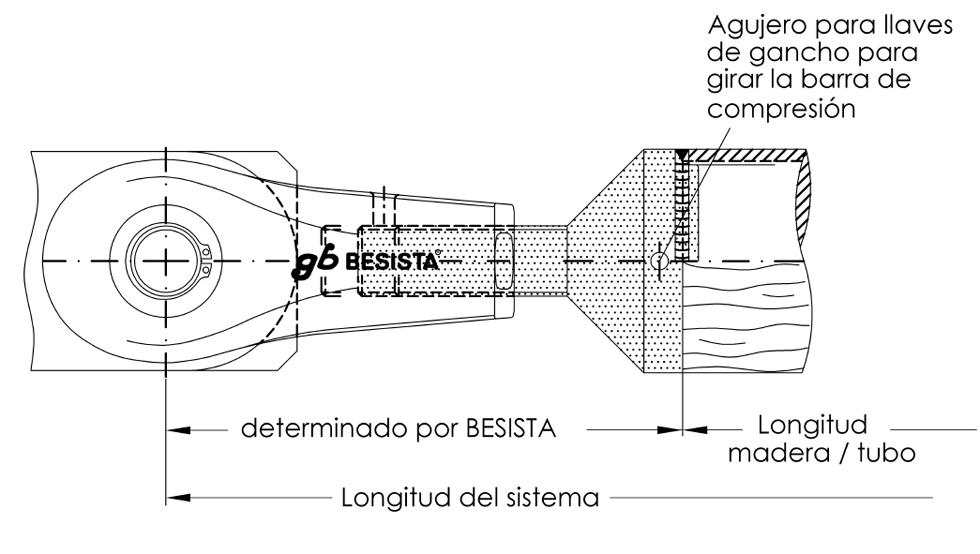 Calculo de le longitud del sistema para la conexión de barras de compresión de acero y madera BESISTA