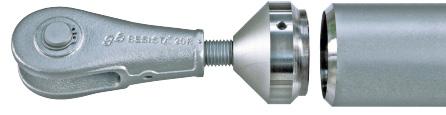 Conexión de barra de compresión de dos piezas con anclaje de barra-horquilla sistema BESISTA