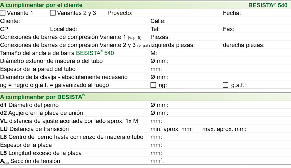 Formulario de datos de conexiones de barras de compresión para BESISTA barras de compresión de acero y madera