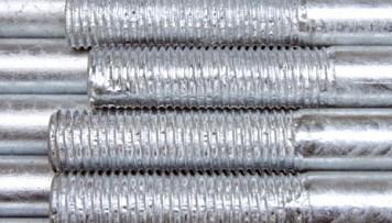 Filetages de barre remplis de zinc