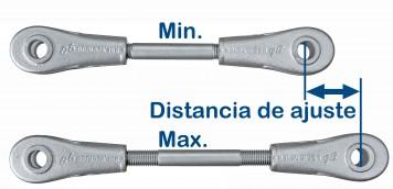Los tirantes y barras de compresión BESISTA tienen distancias de ajuste muy largas