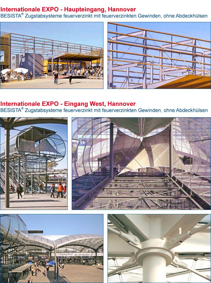 Zugstangensysteme BESISTA für den Stahlbau im Haupteingang EXPO Hannover