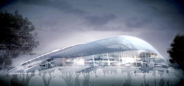 Zugstabsysteme und Druckstabsysteme BESISTA für das gesamte Olympiastadion Sochi