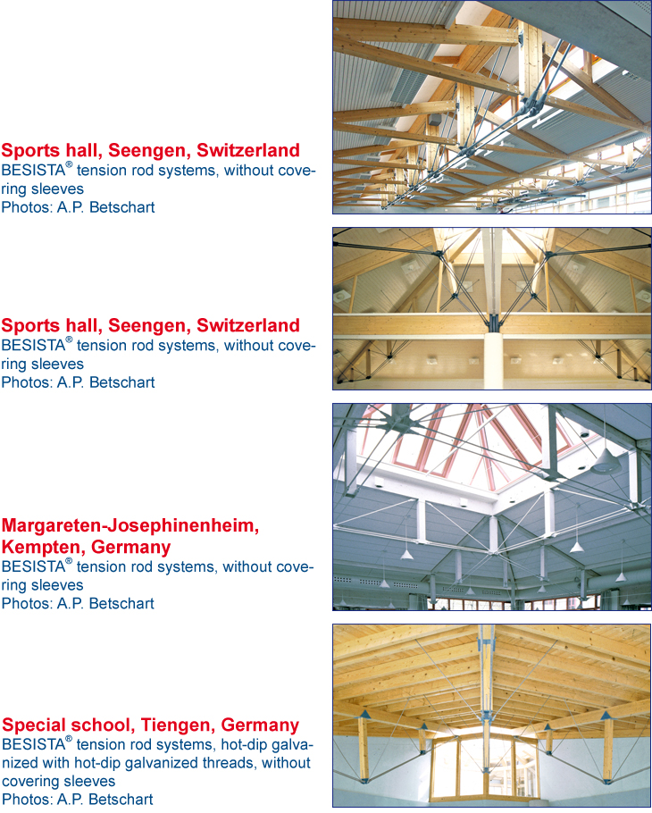 Tension bars system BESISTA for underpinning of the sports hall Seengen