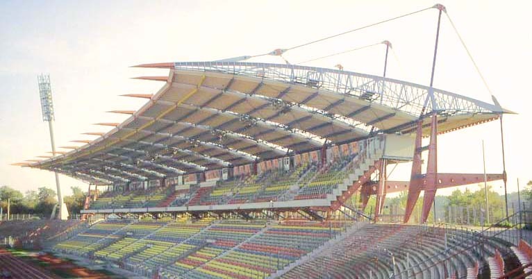 Tension rod system BESISTA for the bracing of the Wildparkstadion Karlsruhe