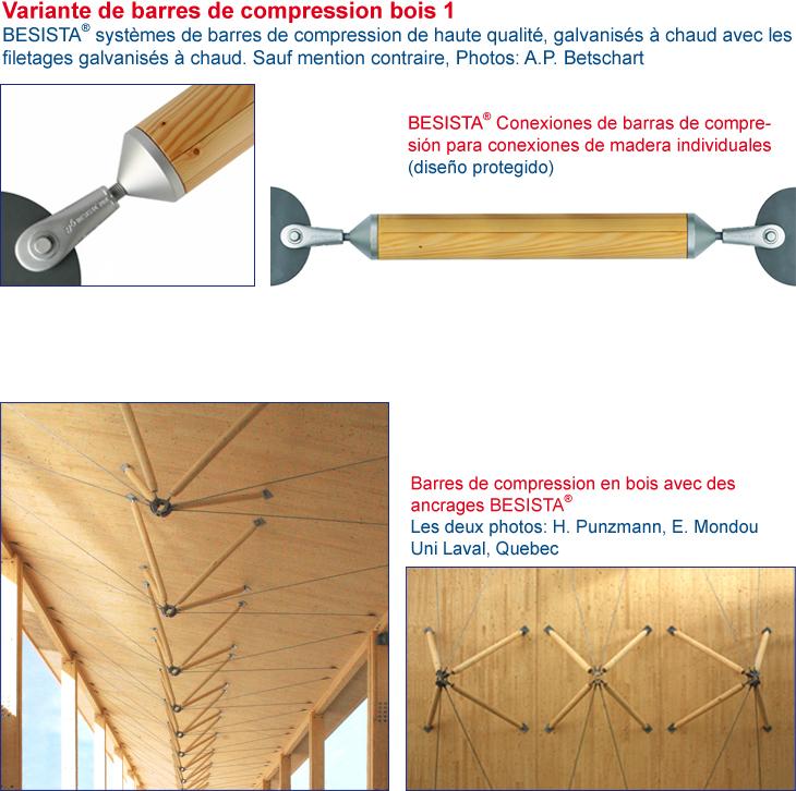 Tirant de compression en bois système BESISTA raccord de barre de compression et ancrage