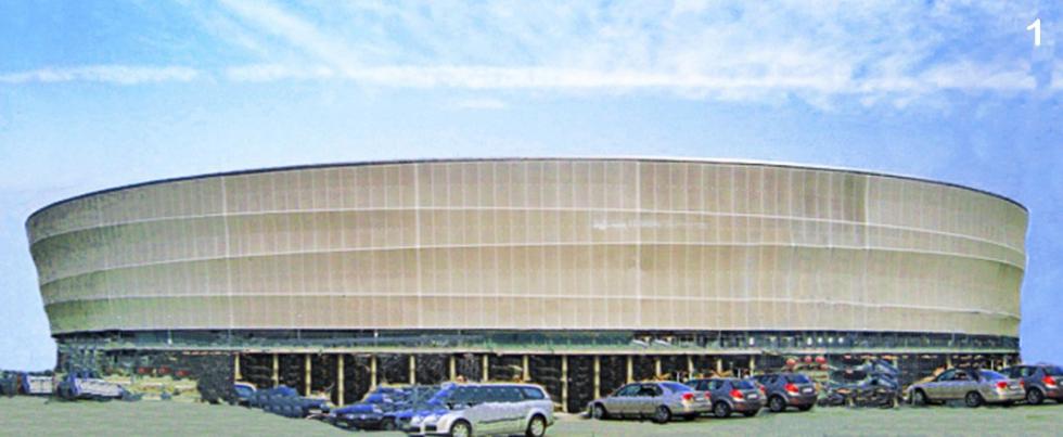 Barras de compresión BESISTA en construcción de fachadas - Estadio Municipal Wroclaw Polonia