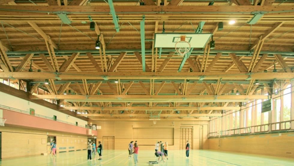 Tirantes BESISTA para la renovación de la construcción de madera de un gimnasio