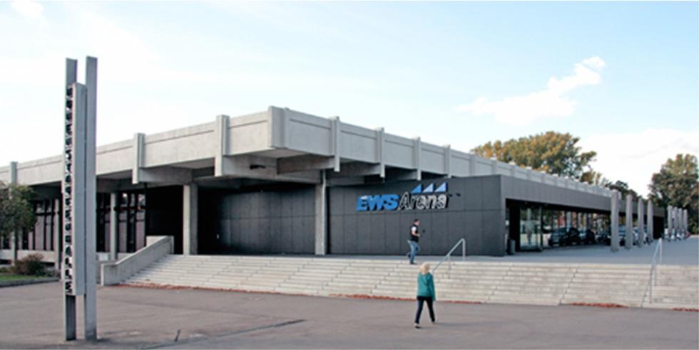 Tirantes sistema BESISTA para la renovación de la EWS Arena Göppingen