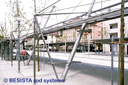 Tension rods and compression rods system BESISTA form the structure of the ZOB, RT - 84