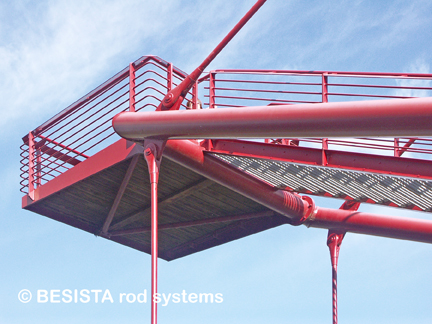 Tension rod systems from BESISTA for the guying of the lookout tower - 482.4