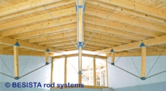 Tension rods system BESISTA with hot-dip galvanized threads in an indoor pool - 48