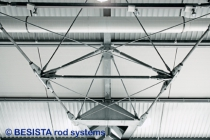 Tension rod systems and compression rod systems from BESISTA form the trusses - 314