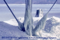 BESISTA tension rod systems of tension rods and rod anchors in an ice-test