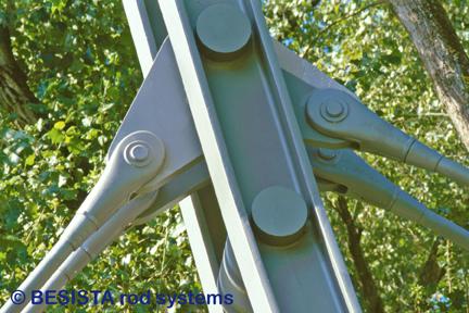 Tirants et ancrages M76 de BESISTA - raccord articulé dans le pylône - 426