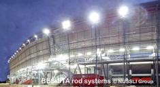 Tirants BESISTA pour le contreventement de la façade du Stade de Bata - 529