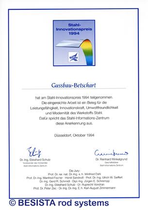 Betschart: 1994 BESISTA obteniá el premio de innovación de acero para el sistema diseño - 109