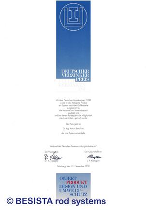 Betschart: Premio de galvanizadores 1991 para sistema de barras de tensión BESISTA - 155