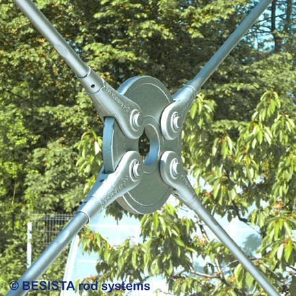 BESISTA unión en cruce de barras de tensión, anclajes de barra y disco circular - 356
