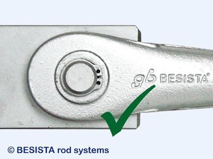 BESISTA instalación - posición correcta de la placa en el anclaje de barra/cabezal - 377