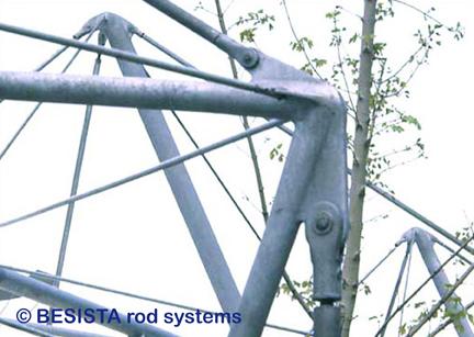 Druckstäbe und Zugstäbe System BESISTA, Detail vom Stahlbau, ZOB Reutlingen - 80