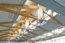 Zuganker aus Zugstäben System BESISTA zur Unterspannung der Sporthalle Seengen - 66