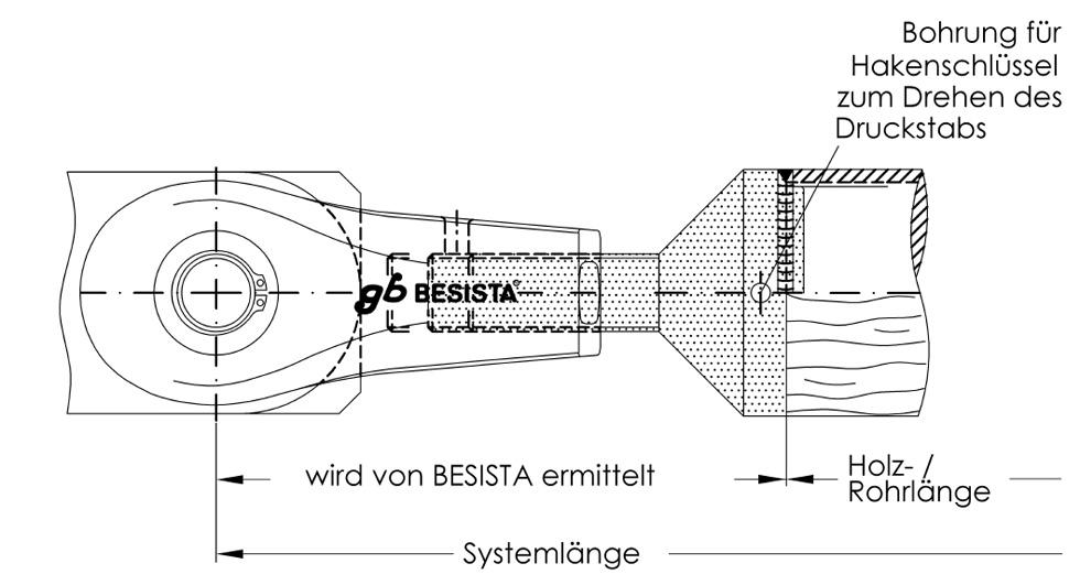 Ermittlung der Systemlänge für den Druckstabanschluss aus Stahl und Holz System BESISTA