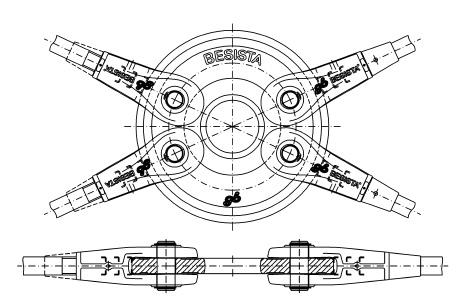 Kreisscheibe mit 4 Stabanker-Gabelköpfen für Windverband System BESISTA