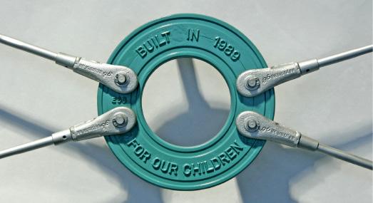 Kreisscheibe aus Guss mit Schrift für Windverband von BESISTA Sonderelemente