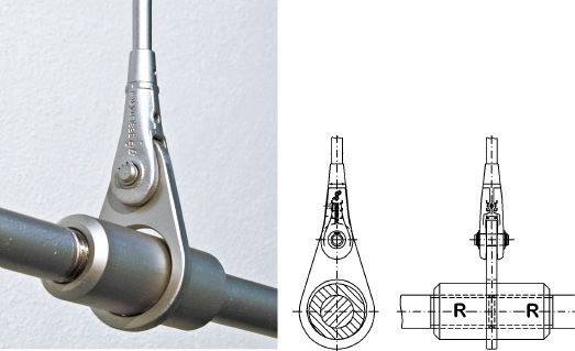 Suspension ring for tension rod, tension ties with extension sleeve system BESISTA