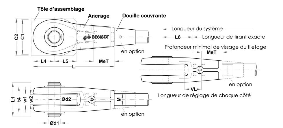Illustration d\'ancrage, chape, fourche, t�te syst�me BESISTA
