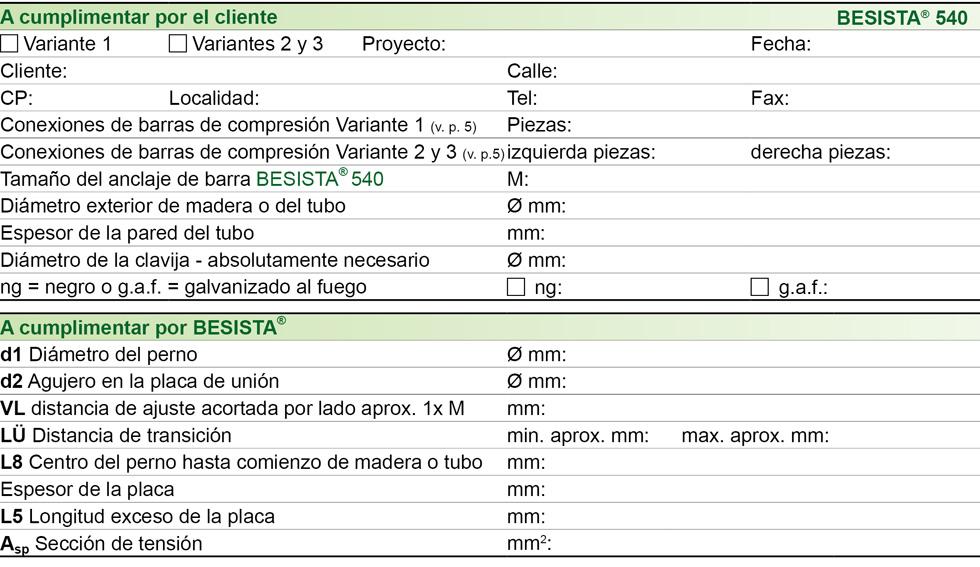 Formulario de datos de conexiones de barras de compresi�n para BESISTA barras de compresi�n de acero y madera