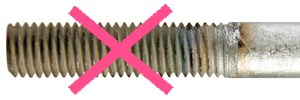 Brushed rod threads are rejected by BESISTA
