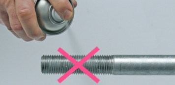 Simply sprayed rod threads are rejected by BESISTA