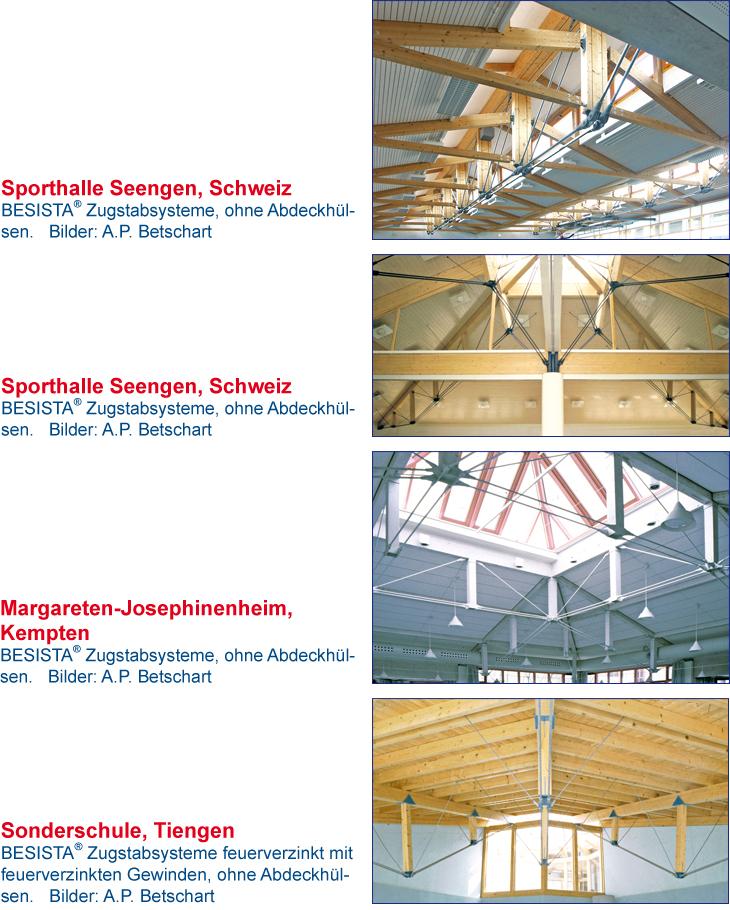 Zuganker System BESISTA zur Unterspannung der Sporthalle Seengen