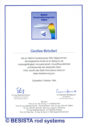 Betschart: 1994 BESISTA was awarded the Steel Innovation Award for the design rod system - 109