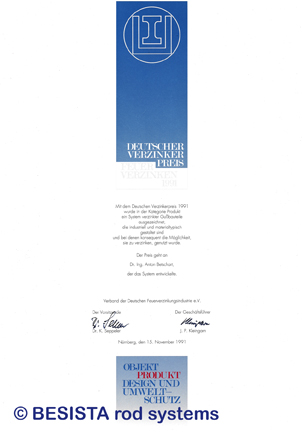 Betschart: Galvanizers' Award 1991 for the tension and compression system BESISTA - 155