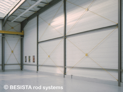 Rod systems BESISTA consisting of tension rods and rod anchors in a multi-purpose hall - 191