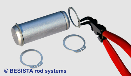 Pins with locking rings for the tension rod and compression rod system BESISTA - 534