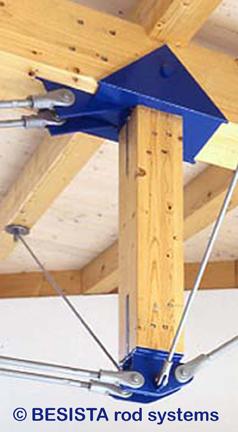 Tirants et ancrages BESISTA pour haubanage avec appui latéral dans la construction en bois - 112