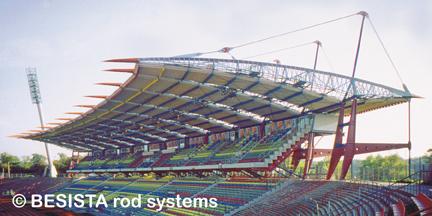 Zugstangensysteme von BESISTA für die Aussteifung des Wildparkstadion Karlsruhe - 99