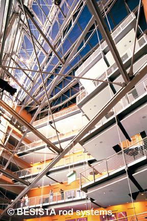 Zugstabsysteme BESISTA für Hinterspannung der Fassade, Daimler-Crysler, Berlin - 198