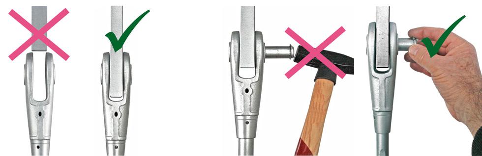 Montage der Bleche und Bolzen in die Stabanker-Gabelk�pfe System BESISTA
